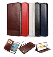 Luxury Brand Mixed Color Retro Flip Genuine Leather Wallet Case For Coque Iphone 7 6 6S