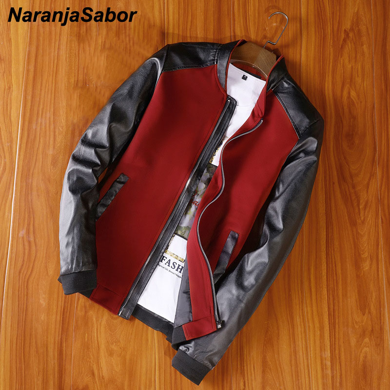 NaranjaSabor New Jacket Men's PU Patchwork Jackets Spring Autumn Faux Leather Coat Slim Fit Fashion Male Motorcycle Coats N512