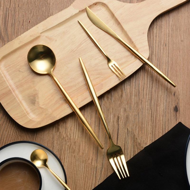 30 stücke KuBac Hommi Qualität Edelstahl Messer Gabel Partei Goldene Geschirr Set Gold Besteck Set Drop Verschiffen-in Geschirr-Sets aus Heim und Garten bei  Gruppe 2