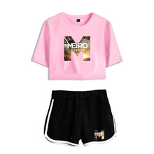 Metro Exodus Printed Women Two Pieces Sets 2019 New Oversize Navel short sleeve O-neck T-shirt and Short Pants Sets Summer(China)