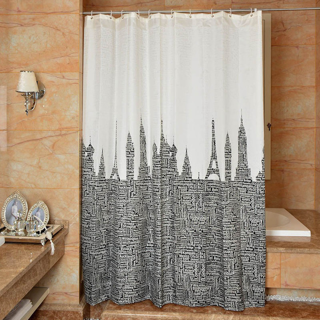 New Shower Curtain Mediterranean Letters Pattern Bathroom Toilet Partition Waterproof Mouldproof