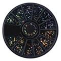 1 Box Black Shiny Nail Rhinestones 3D Nail Art Decorations in Wheel Flat Bottom Manicure DIY Nail Art Accessories