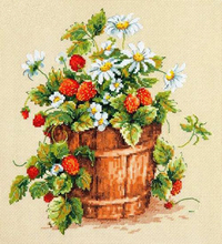 Needlework 14CT  Cross Stitch, DIY Count Embroidery Set, Strawberry bucket