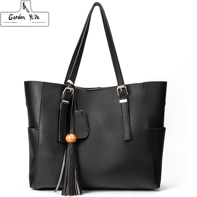 Women Genuine Leather Handbags 2018 Famous Brands Designer Handbags High Quality Tassel Tote Shoulder Bag For Women Bolsos Sac famous brands trapeze catfish genuine leather luxury handbags women shoulder bag designer tote bag high quality tote bag neutral