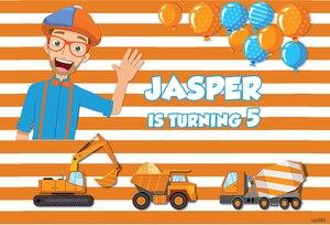 Image 2 - Sensfun רקע עבור בני יום הולדת צילום blippi בנייה מסיבת הבאנר תפאורת פסי פועל דחק Dump משאית תמונה סטודיו