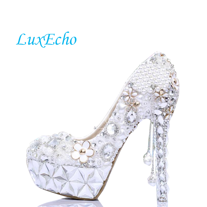 white Pearl with tassel rhinestone shoes women wedding shoes bride ultra high heels platform shoes formal dress party shoes love moments pearl shoes woman white and red wedding shoes bride pumps high heels platform dress party shoes for women ladies
