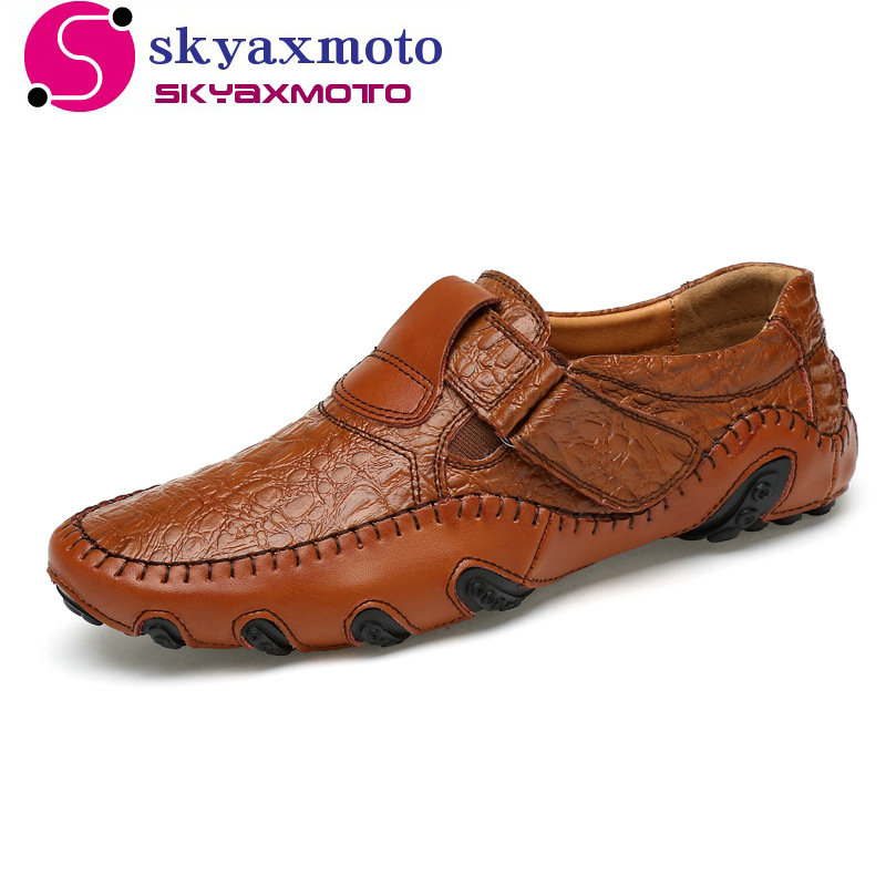New Design 2017 Spring Summer Men Flat Shoes Soft Split Leather Male Moccasin Driving Loafers Shoes Casual Sapatos Homens branded men s penny loafes casual men s full grain leather emboss crocodile boat shoes slip on breathable moccasin driving shoes