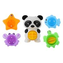 5Pcs Baby Cute Panda Bathtub Toys Swimming Water Toys Kids Fun Floating Water Bathroom Toy toys for children(China)