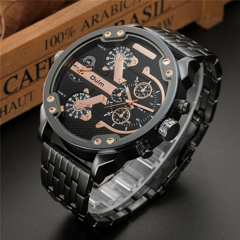 Oulm Two Time Zone Big Dial Japan Quartz Military Watches Men Luxury Brand Steel Wristwatch Male Military Watch Golden Hours