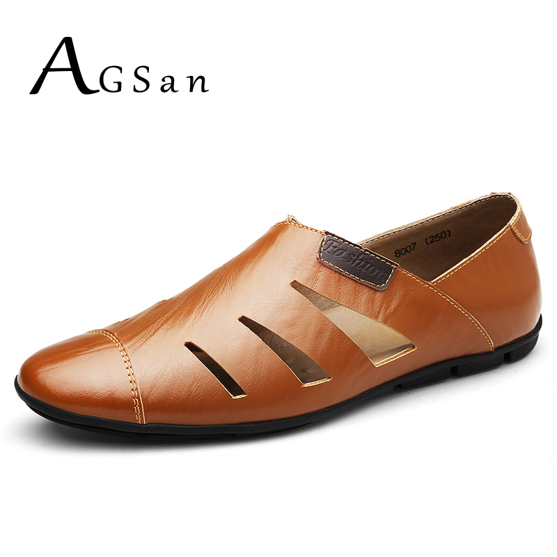 AGSan Men Loafers Summer Breathable Genuine Leather Moccasins Hollow Out Driving Shoes Big Size 37-47 Mens Casual Shoes Black
