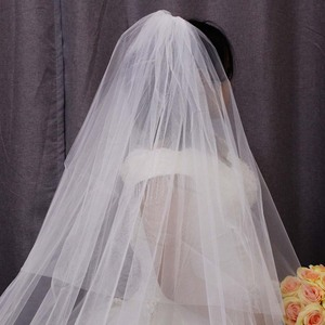 Image 5 - Hoge Kwaliteit Kant Applicaties Lange 2 T Wedding Veil Cover Gezicht 3 Meter Kathedraal Bridal Veil Met Kam Blusher Voile mariage