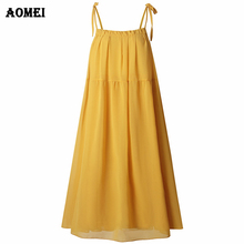 AOMEI Women Yellow Sweet Cami Dresses Loose Vacation Beachwear Classy  Backless Girl aa4f5aac5c36