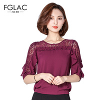 FGLAC Women Blouse Shirt New Arrivals 2017 Summer Women Lace Tops Elegant Loose Hollow Out Lace