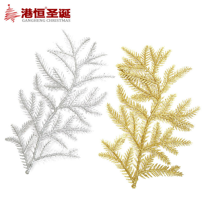 Gold silver christmas branches leaves decoration for Artificial christmas decoration tree