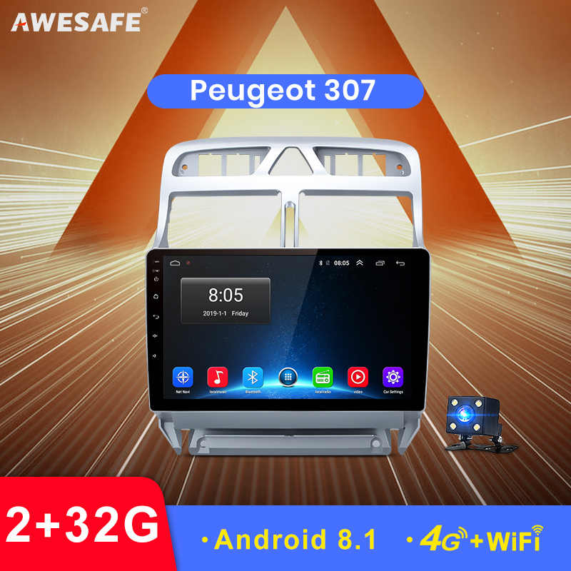 AWESAFE 2 din Android 8,1 reproductor de DVD del coche GPS para Peugeot 307, 2002, 2003, 2004, 2005, 2006, 2007, 2008, 2009 2010, 2011, 2012, Radio Estéreo