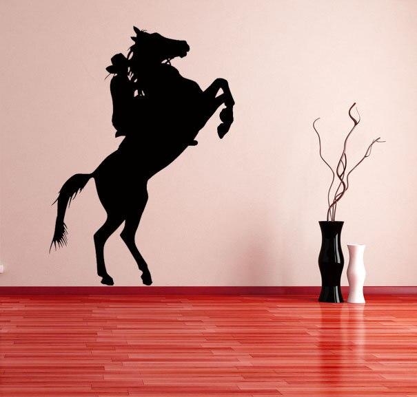 Cowboy Driving Horse Creative Wall Sticker Home Livingroom Art ...