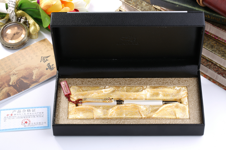 Jinhao 1000 Luxury Silver and Gold Dragon Clip Fountain Pen with Original Box Gift Pens Free Shipping jinhao fountain pen unique design high quality dragon pens luxury business gift school office supplies send father friend 002