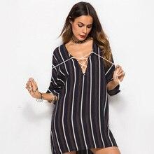 Cncool Stripe T Shirt Dress Summer Women's Casual Plus Size Dresses Half Sleeve Lace Up Tassel Mini Feminino Vestido lace up plus size floral stripe t shirt