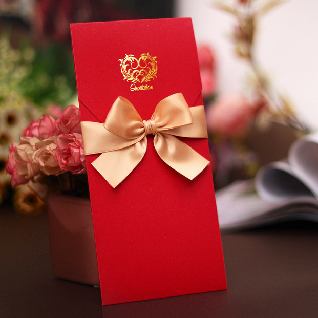 Wedding Invitations From China: Graceful Chinese Red An Gold Ribbon Free Customization