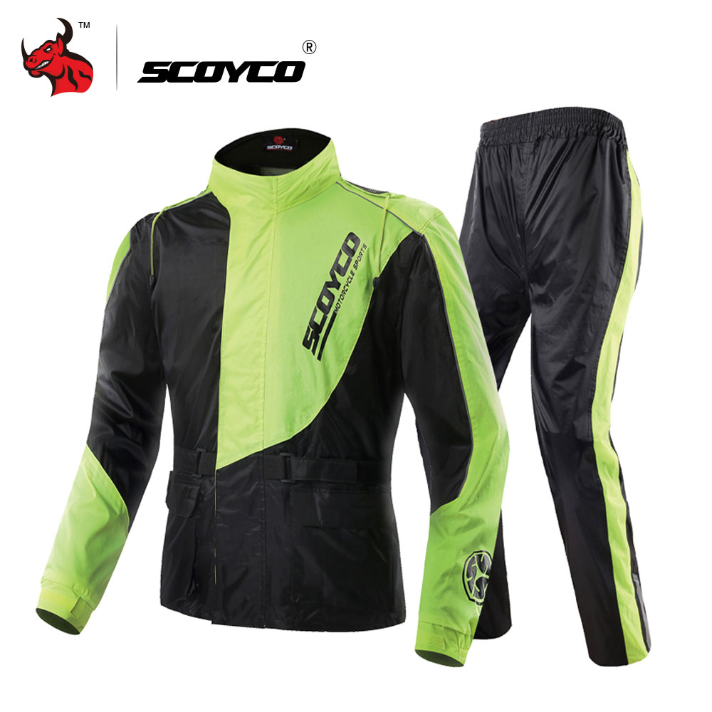 SCOYCO Waterproof Riancoat Suit Reflective Motorcycle Clothing Protective Jacket Waterproof Moto Jacket And Motorcycle Pants blue scoyco p043 protective jeans protector rider pants with ce knee moto motorcycle racing leisure oxford fabric trousers