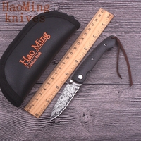 Camping Outdoor Portable Carbon Fiber Handle Folding Knife Damascus Blade Hunting Knives Tactical Pocket EDC Exquisite