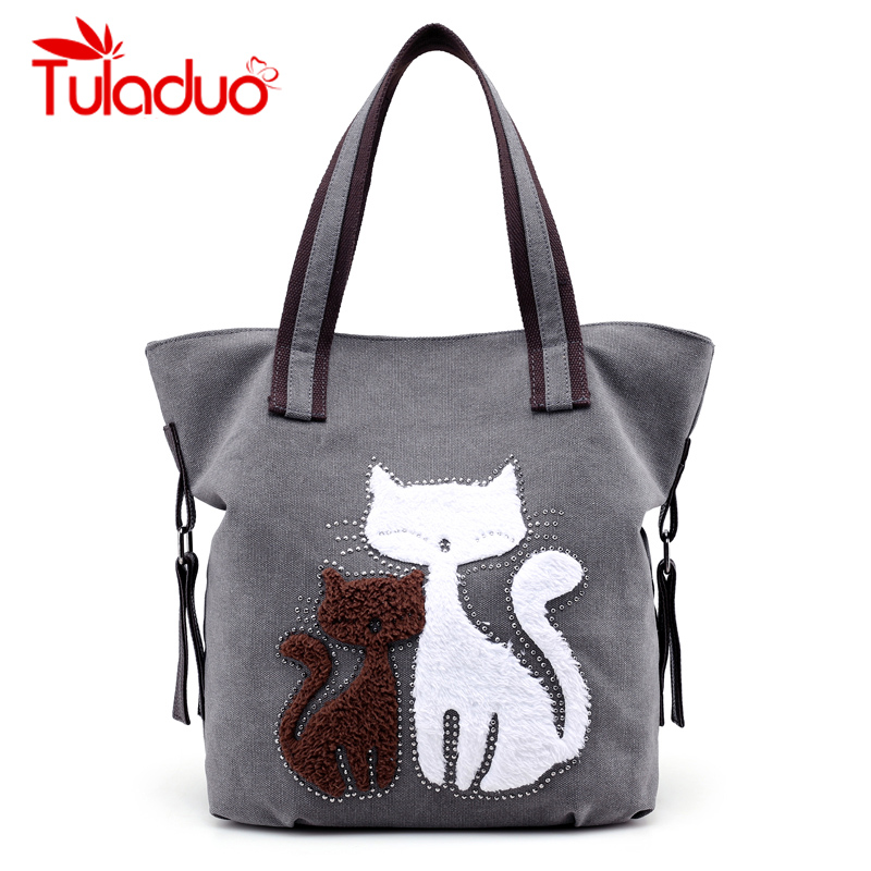 Women Canvas Bag Cat Print Ladies Shoulder Bags Female Patchwork Handbags Women Large Capacity Casual Tote Bags Sac A Main women canvas bag striped handbags laides patchwork shoulder bag new sac a main femme de marque casual bolsos mujer tote bags