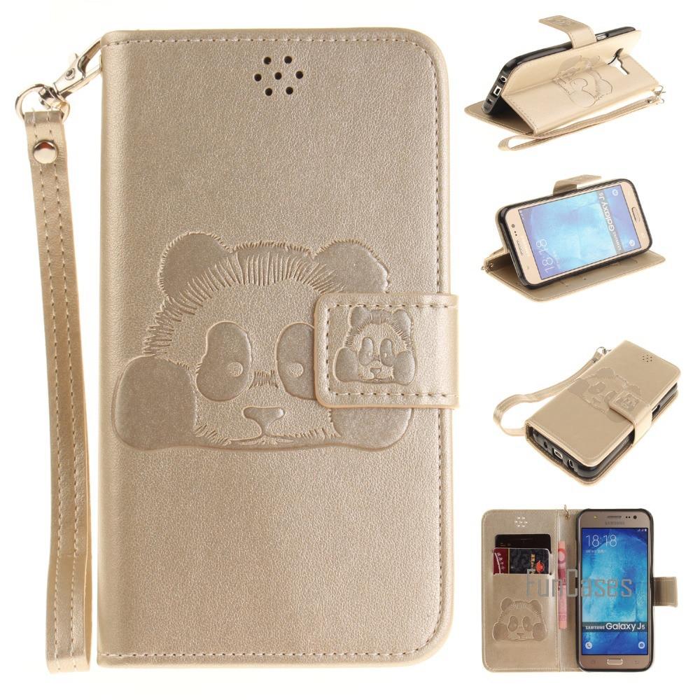 Galleria fotografica For Samsung Galaxy J5 J500 J500F PU Leather Case Stand Function Card Holder Enbossed Panda Magnetic Flip Wallet Purse Case