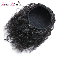 L D 100% Human Hair ponytail Products Afro Kinky Curly Ponytail For Women Natural Black Remy Hair Clip In Ponytails Drawstring