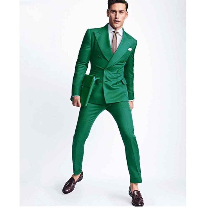 New Green Men Wedding Suits Slim Fit 2 Piece Double Breasted Tuxedo Custom Made Groom Prom Blazer (Jacket+Pants)