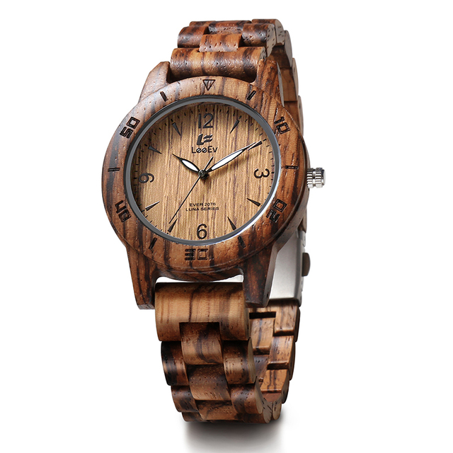 LeeEv EV2076 Womens Luxury Natural Zebra Sandal Wood Watch Quartz Light Weight Vintage Wooden Wrist Watch