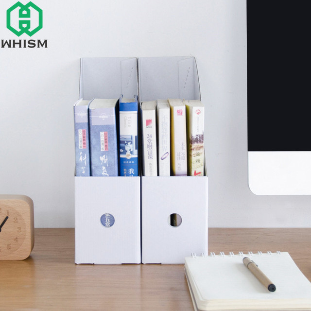 WHISM DIY Kraft Paper Bookend Book Holder File Bookends Bookshelf Stationery Stand School