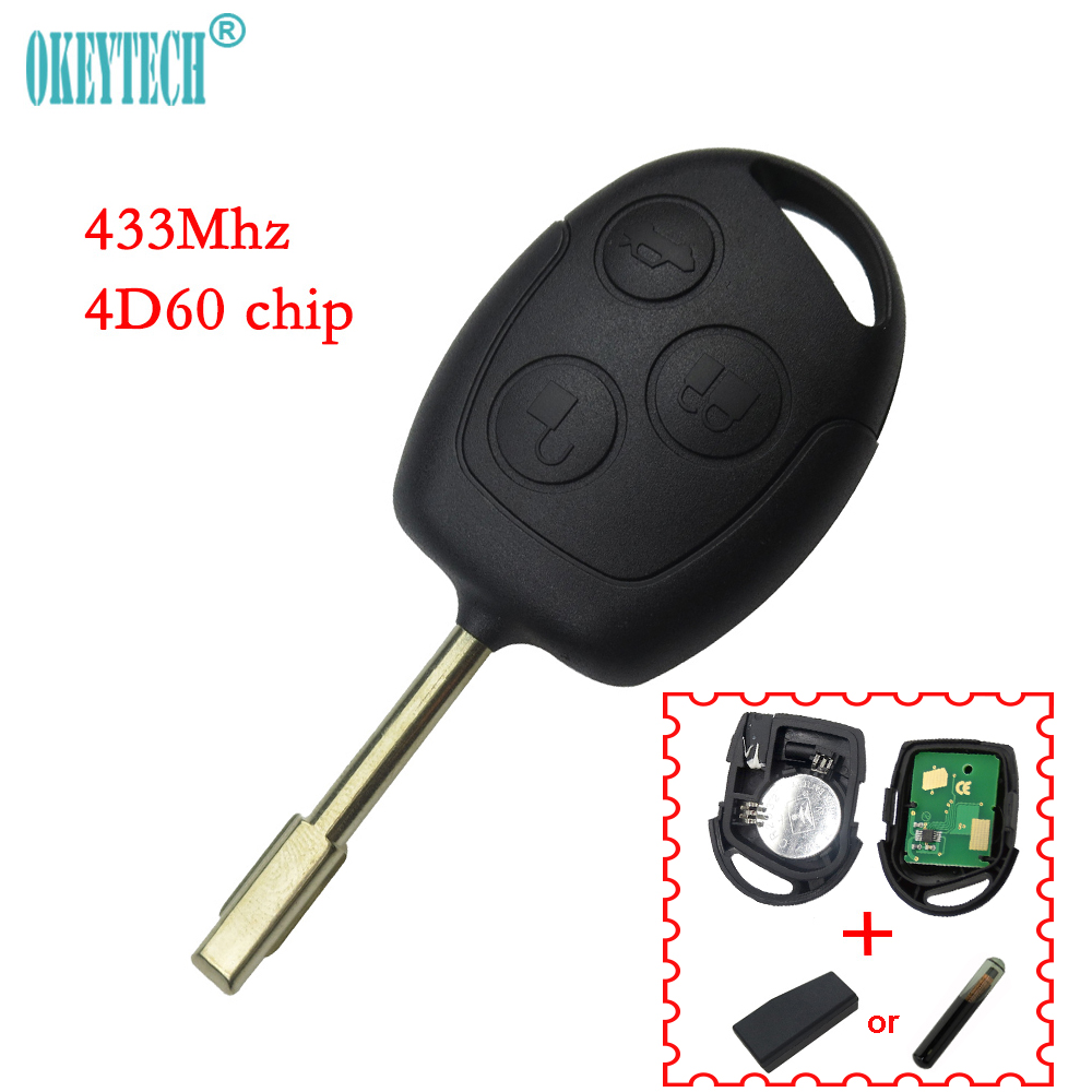 OkeyTech 3 Buttons 433Mhz Remote Keyless Entry Key Fob For Ford Mondeo Fiesta Focus Ka Transit With 4D60 Chip Uncut FO21 Blade