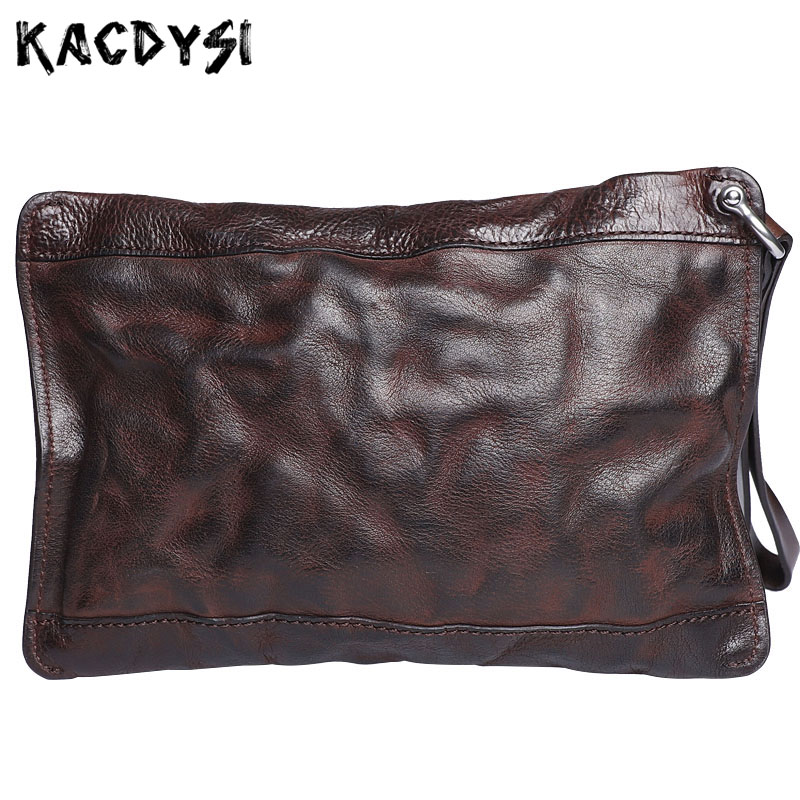 Genuine Leather Retro Men Wallets Wrinkle Hand Colored Large Clutch Bags Multifunction Zipper Purse Wallet Card