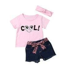 Children's 2020 New Girls Clothes Short Sleeve Letter Print Top + Leopard Print Belt Denim Shorts + Hair Strap Set Baby #LR4 girls cartoon and letter print top