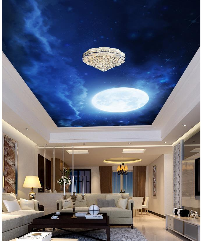 The moon in the night sky ceiling mural 3d wallpaper 3d for Ceiling mural sky