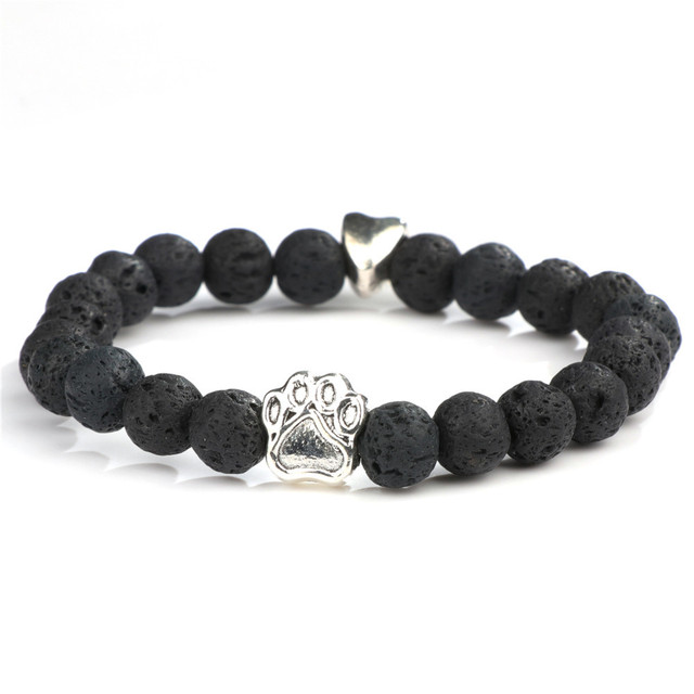 Paw Design Natural Stone Yoga Bracelet