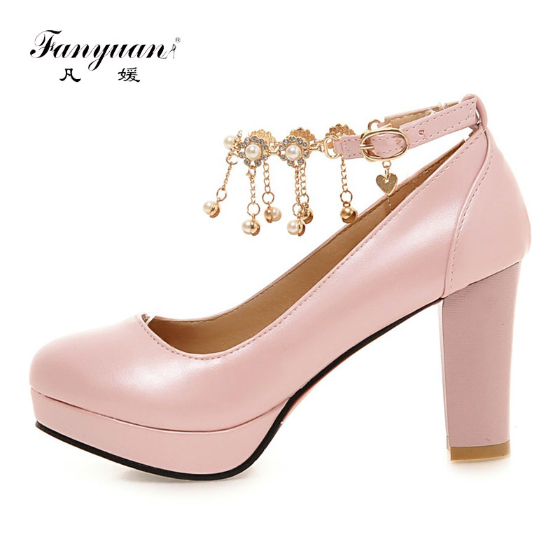Fanyuan Sexy High Heel Pumps Women Shoes Fashion Chain Buckle Platform  Shoes Heels Woman Comfort Chunky Heels Ladies Footwear-in Women s Pumps  from Shoes on ... d5be01dc138d