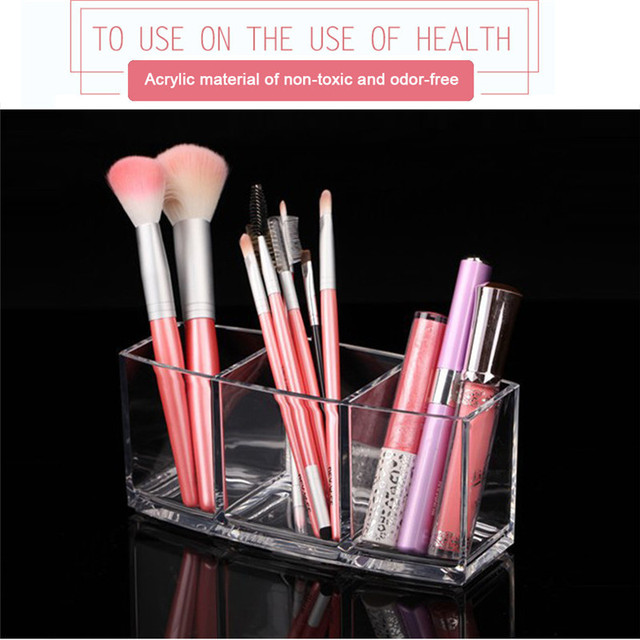 1 PC. 3 Grid Transparent Acrylic Cosmetic Makeup Pencil Case Cosmetic Organizer Holder Storage Boxes Tools Brushes and Accessories