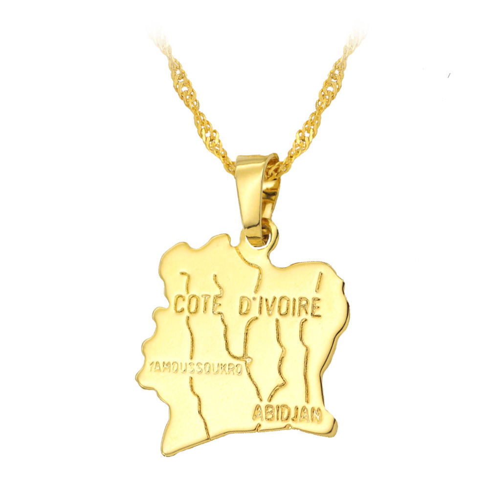 Fooderwerk Jewelry Africa Cote d'Ivoire Map Pendant Necklace Women's Golden Water Wave Chain Clavicle Necklace