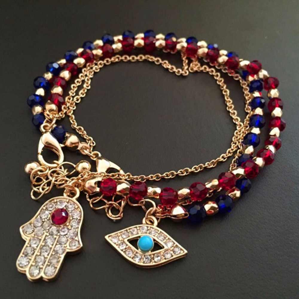 Porte-bonheur kabbale Fatima Hamsa main rouge bleu mauvais œil bracelets à breloques et bracelets perles multicouches pour les femmes