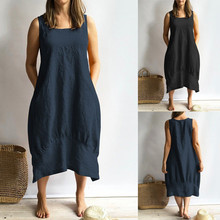 Dress 2019Top Women Casual O-neckline Solid Dress Sleeveless Loose Pocket Linen Dress