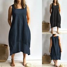 Dress 2019Top Women Casual O-neckline Solid Dress Sleeveless Loose Pocket Linen Dress fuzzy double pocket loose dress