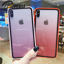 Color Gradient Phone Cover For iPhone X 7 8 6S Plus Case Acrylic TPU Protective XS MAX XR Capa Coque