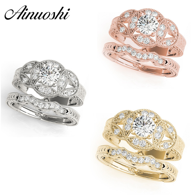 AINUOSHI Luxury 925 Sterling Silver Princess Wedding Engagement Ring Set Halo Round Cut Silver Ring Sets