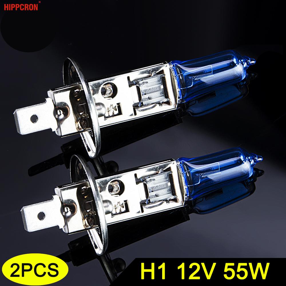 Hippcron H1 Halogen Bulb 12V 55W 5000K Dark Blue Quartz Glass Car HeadLight Lamp Super White (2 PCS)