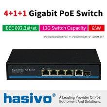 4Port PoE Network Ethernet Switch With 1Uplink And 1SFP Port For POE Camera Gigabit 10/100/1000Mbps 48VPower IEEE802.3af/at 10 100 1000mbps gigabit ethernet poe switch stock 5 port ethernet switch module network switch security camera system network