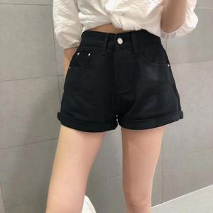 Image 2 - Basic Cuffed Cotton Denim Shorts Women High Waist Washed Essential Jeans Shorts S M L XL
