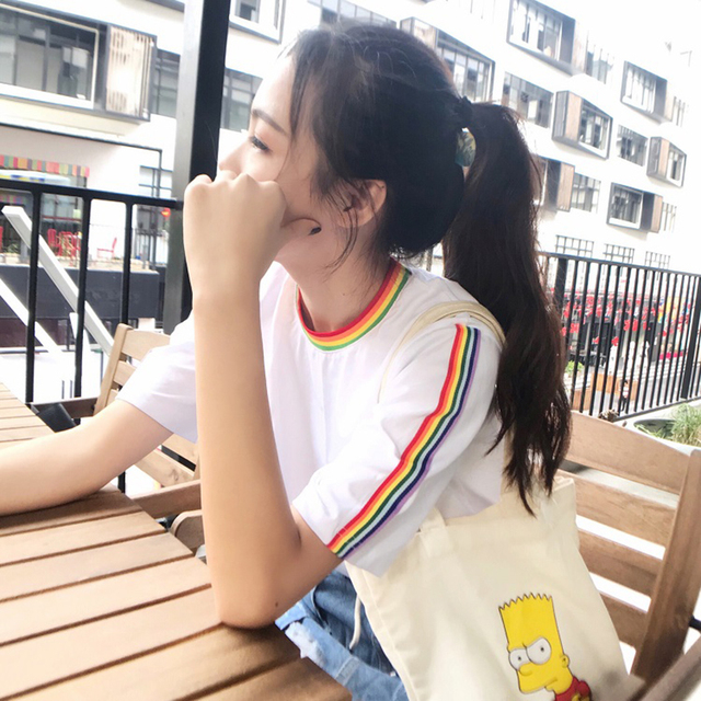 2017 New Summer Tops Cute Rainbow Harajuku Tshirts Women Clothing Cotton Best Friends Black White Tee Clothes Short Sleeves