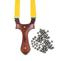 Slingshot Wood Catapult + 7mm Steel Balls Outdoor Hunting Tool W/ Flat Rubber Band