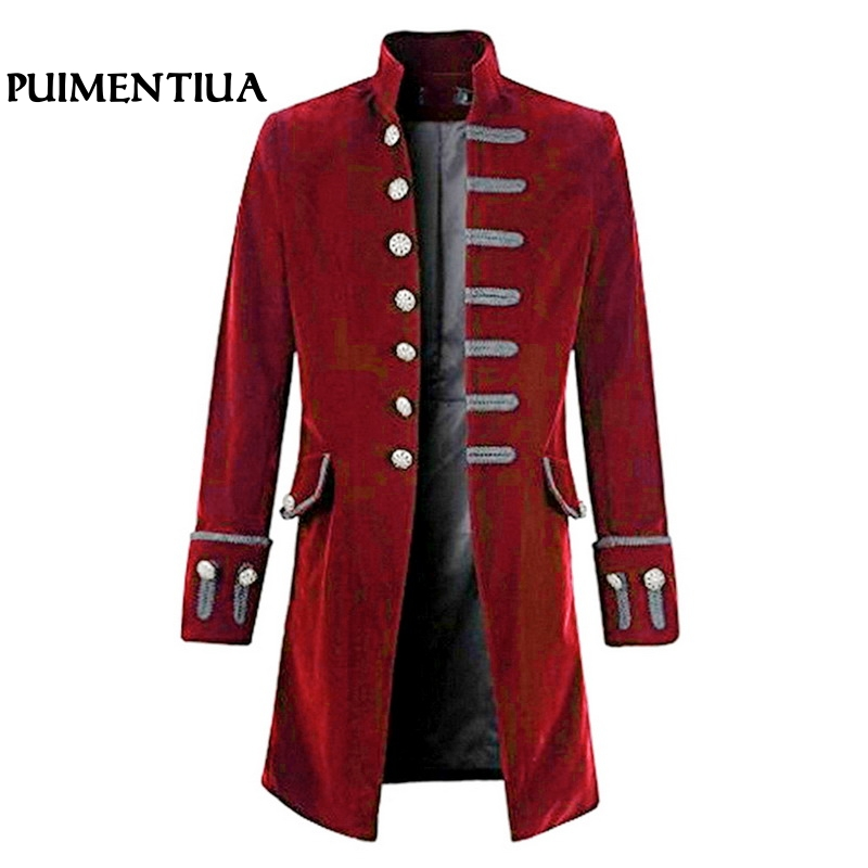 Puimentiua 2019 Spring Men Self cultivation Velvet Opening Goth Steampunk Solid Frock Suit Jacket Stand Collar Long Sleeve Tuxdo